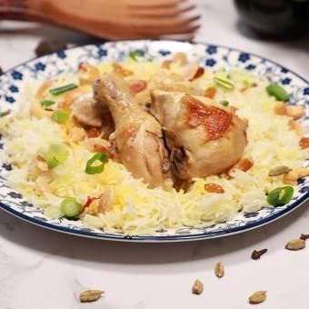 أرز بالزعفران والدجاج بالفيديو