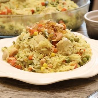 أرز بالدجاج والخضار بالفيديو