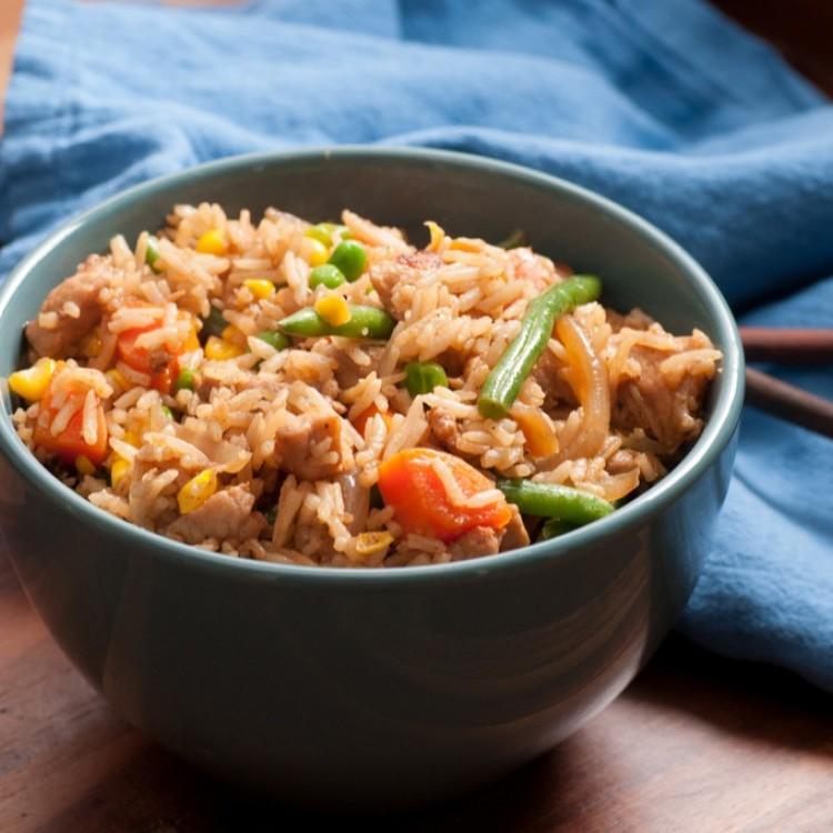 أرز صيني بالدجاج صحي للرجيم