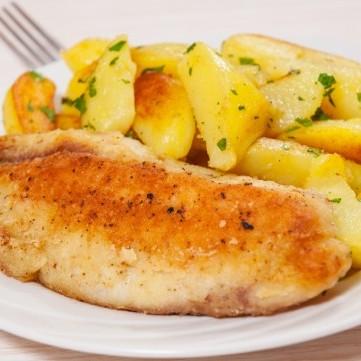 سمك فيليه مع البطاطس بالفرن صحي