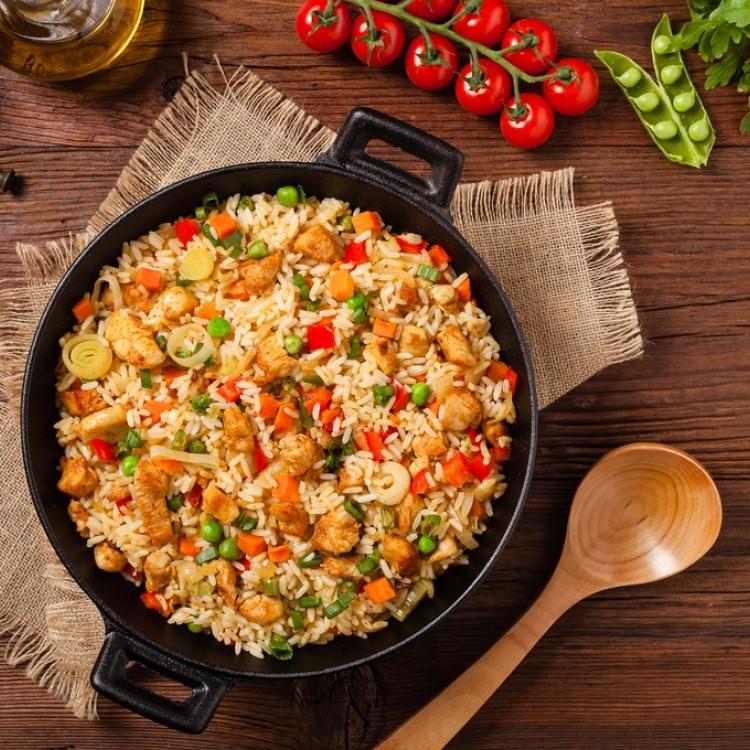 دجاج مقلي مع الرز