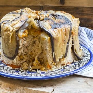 طريقة عمل المقلوبة بالباذنجان باللحم لغداء العيد
