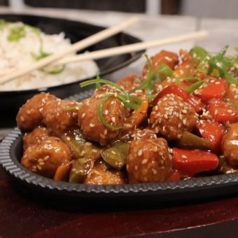الدجاج الصيني بالخضار والسمسم بالفيديو